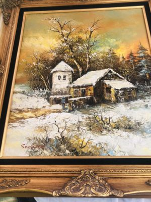 Vintage oil on canvas signed by artist Schiller Well listed Artist for Sale in South Bend, IN