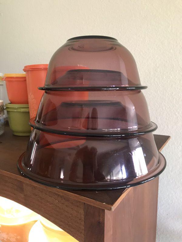 Purple Pyrex mixing bowls