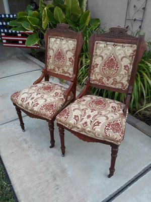 BEAUTIFUL PAIR OF ANTIQUE CARVED WOOD SLIPPER CHAIRS (CIRCA EARLY 1900'S) for Sale in Corona, CA