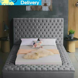 🍂Same Day Delivery ❤Bliss Velvet Gray Queen Storage Platform Bed by Meridian for Sale in Washington, DC
