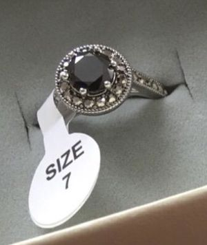 NEW Women's Ring Black Onyx Marcasite White CZ Silver Plated Engagement Anniversary Wedding Band for Sale in San Francisco, CA