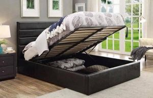 QUEEN SIZE BLACK LEATHERETTE BED FRAME PICK UP TODAY for Sale in Chino, CA