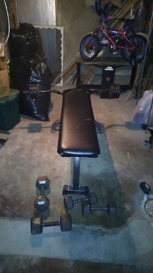 Weights bar and bench with extra dumbbells for Sale in Reading, PA