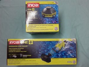 RYOBI 18-Volt ONE+ Lithium-Ion Cordless Underwater Stick Pool Vacuum Kit/ Floating Speaker/Light Show with Bluetooth for Sale in Sacramento, CA