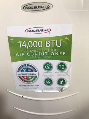 Soleus Air LX-140 14000 BTU Evaporate Portable Air Conditioning Heat Pump Dehumidifier And Fan 4 in 1 for Sale in Hialeah, FL
