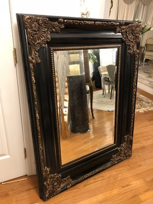 """""""SERIOUS INQUIRIES PLEASE """"49""""X37"""" Large Black Antique Style Wooden Mirror for Sale in Gainesville, VA"""