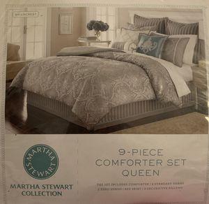 9-piece martha stewart queen bedding linen set for Sale in Bowie, MD