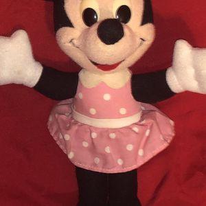 "Disney Vintage Playskool Stuffed Minnie Mouse 9"" Plush Stuffed Animal - Pink Dress Blue Bow 1989 Doll for Sale in Phoenix, AZ"