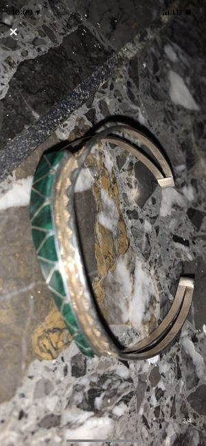 Sterling silver jade cuff bracelet for Sale in Anchorage, AK