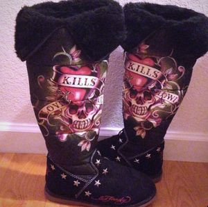 Women's Black Ed Hardy Boots with Silver Stars - Size 7 for Sale in Santa Clara, CA