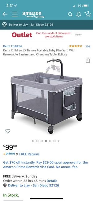 Playpen, play yard with bassinet and removable changing table for Sale in San Diego, CA