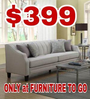 Nice linen sofa new in box $399 sale was $648 😎2759 Irving Blvd Dallas 75207😎 for Sale in Dallas, TX