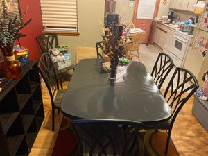 Dining room table set six chairs black Wrought iron for Sale in Philadelphia, PA