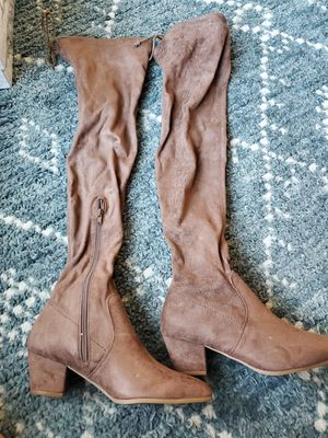 Brown suede thigh high boots size 6.5, brand new, never been worn for Sale in South Jordan, UT