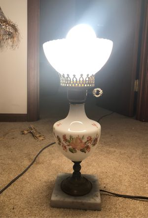 "17"" Antique Fenton Hand-Painted WildFlowers w/ Mid-Century Mushroom Marking Milk Glass Lamp on Brass Body on Natural Stone Marble Based Pedestal w/ F for Sale in Plainfield, IL"