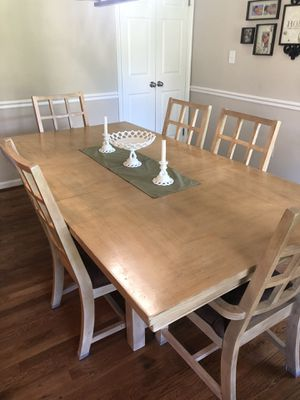Blonde solid wood dining table and 6 chairs for Sale in Woodstock, MD