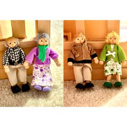 Vintage Caucasian Wooden Dollhouse Family 👨👩👧 for Sale in Glenwood,  MD
