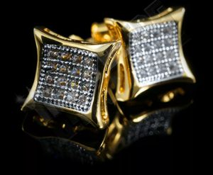 18k Gold Bling Out Iced Lab Diamond Stud Kite Square Micropave Mens Earrings for Sale in Los Angeles, CA