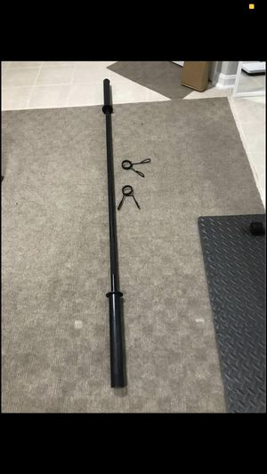 """7-Foot Olympic Barbell for 2"""" Black Olympic-Sized Weight Plates with 2 clips lock for Sale in North Potomac, MD"""