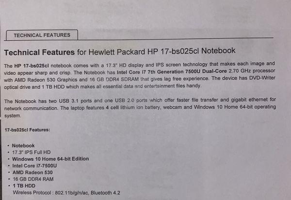 "HP 17.3"" Notebook, Core i7 7th Generation, 16GB Ram - 1TB HDD"