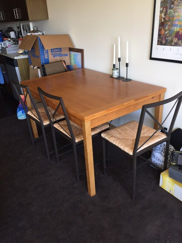 Dania Dinex Alfa Extension Table And Ikea Chairs For Sale