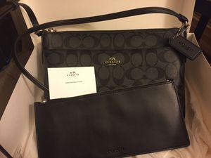 Slim black coach crossbody purse w/ removable pouch for Sale in Vienna, VA