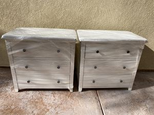 3-Drawer Dresser, Chest of Drawers, Bedside Table with Solid Wood Legs, for Bedroom, Living Room, Office, Entryway, White for Sale in Eastvale, CA