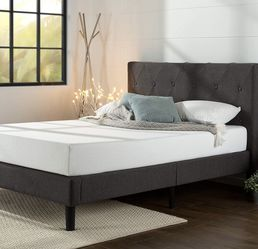 Zinus upholstered diamond stitched platform queen bed for Sale in Bridgewater,  MA