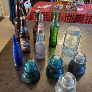 7 Random Bottles, 4 Insulators & Mason Jar With Lid for Sale in Shorewood, IL