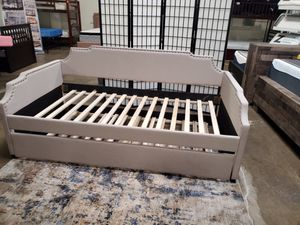 Beige Daybed with Trundle, Twin over Twin Bed Frame for Sale in Garden Grove, CA