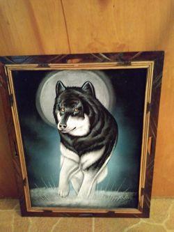 Framed Vintage Wolf Painting On Black Velvet for Sale in Warren,  MI