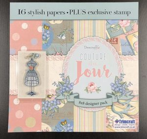 Dovecraft Couture Du Jour 8x8 16 Piece Designer Paper Pack With Cling Stamp for Sale in Rives Junction, MI