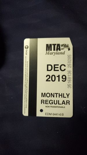 December monthly MTA pass for Sale in Halethorpe, MD