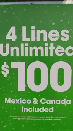 4 lines for $100 at Cricket Wireless for Sale in San Angelo,  TX