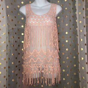 "Say What size XL pink sheer crotchet fringe sleeveless top PIT TO PIT: 34"" LENGTH: 25"" for Sale in Saint Albans, WV"