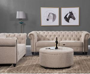 Fabric Chesterfield couch loveseat set sofa for Sale in Baltimore, MD