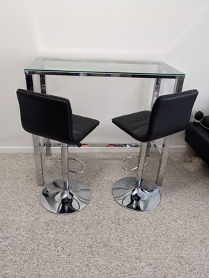 Glass Bar Table with Two Leather Bar Stools for Sale in Rahway, NJ