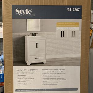 """New Style Selections Savannah 24"""" White Single Sink Bathroom Vanity w/ White Porcelain Top & Mirror for Sale in Garland, TX"""