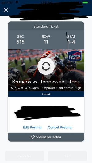 4 Denver Broncos vs Tennessee Titans tickets for Sale in Peyton, CO