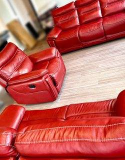 Plush Red Reclining Sofa, Loveseat, & Chair for Sale in Houston,  TX