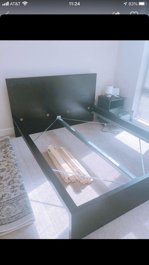 IKEA Malm bed frame, head board and Luton slatted bed base for Sale in Richmond, VA