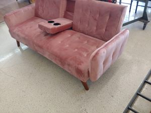 Pink velvet futon sofa with fold-out cup holders $324.99 for Sale in Phoenix, AZ