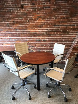 Small round table and 4 office chairs for Sale in Boston, MA
