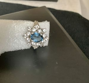 Antique Solid Sterling Silver 925 Cluster Cocktail Clear & Blue CZ Cathedral Ring sz 8 for Sale in Mountain View, CA
