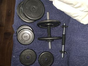 Set of Free Weights(two dun-bars; four-10 lbs weights; four-5 lbs weights) for Sale in Los Angeles, CA