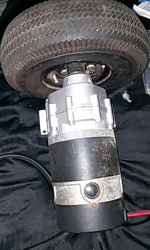 2 geardrive motors for a hub around motorized chair, one doesn't have the tire. I have the control box that they both connect to. Price is negotiable. for Sale in Modesto, CA