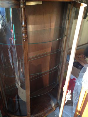 Antique/vintage glass cabinet with lamp for Sale in Homer Glen, IL