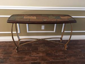 Buffet table - Wood & Iron with Slate Inlay for Sale in Bakersfield, CA