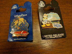 Disney pins 2 total one is Disneyland resort pin featuring Buzz and Woody and the other is limited release from the Disney Dream featuring Donald Duck for Sale in Glendale, AZ