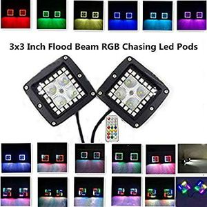 3 x 3 inch flood beams RGB chasing LED pods for Sale in Rancho Cucamonga, CA